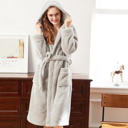 Wholesale Flannel Nightgowns Women - Custom Made Hooded Flannel Cloak Warm Women Men Nightgown Bathrobe Long Bath Keep Warm Robe Nightwear Overcoat Free Shipping
