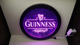 luci segno di birra per barre Sconti b91 Guinness Vintage Logos uomo caverna RGB led MultiColor (16 colori) wireless controllo birra bar pub club luce al neon segno regalo Speciale