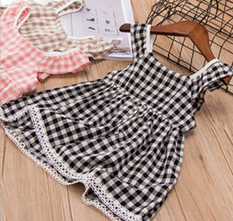 Wholesale Coffee Color Dresses - Kids plaid dress summer girls lace hollow crochet hem princess dress children falbala fly sleeve lattice dress black coffee pink Y0799
