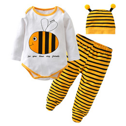 2017 Fashion Baby Boy Clothes Newborn Baby Girl Clothing Set Long Sleeve  Cartoon Bee Style Romper+Pants+Cap Toddler Kids Outfits bdef1505d3e4