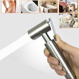 Duchas de pared pulverizadores online-Baño, inodoro, bidé, rociador, cabeza de mano, con soporte de pared, soporte, acero inoxidable, ducha de ducha de rociador de ducha, herramientas, pistola de agua