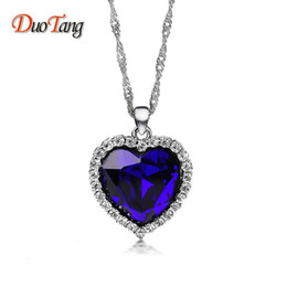 Wholesale Titanic Blue Heart - whole saleDuoTang Titanic Ocean Heart Pendant Necklaces For Women Blue Crystal Rhinestone Silver Plated Metal Choker Necklace Jewelry