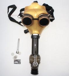 Wholesale steam punk goggles glasses - Gas Mask Bong Steam Punk Golden Mask with Goggles Glass Oil Rigs Oil burner Multifounctions Smoking Bongs Mask Hookah