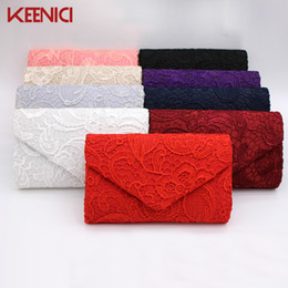 Wholesale red silk pillows - KEENICI Hollow Lace Clutch Bag New Lace Satin Evening Bags High-grade Silk Party Bag Exquisite Day Clutches Crossbody Chain Gift
