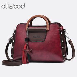 0bb93d4b0450 aliwood Leather Women s Bags Vintage Handbags With Tassel Tote Fashion  Ladies Shoulder Bags Retro Fringed Female Crossbody
