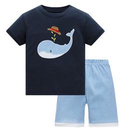Wholesale Boy Pyjamas Cartoon - Summer Baby kids Pajamas Set 100% Cotton Children Short Sleeve sleepwear Cartoon Shark pattern Boys pyjamas girls home suit