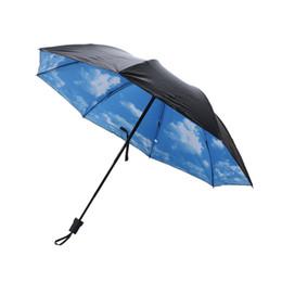 Wholesale Uv Sun Protection Umbrella - Summer 3D Mini Folding Rainy Umbrella Sun Protection Parasol Blue Sky White Clouds Printed Sun Anti-UV Rainproof Umbrellas