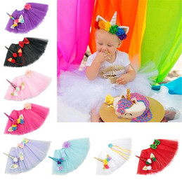Wholesale Floral Dress Accessories - 9 Color Girls INS Unicorn TUTU skirt +hair accessory sets New summer lace Bow flower decoration short skirt kids dress 1~6years B11