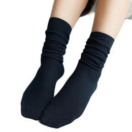 Wholesale Korean Girls Boot - Women Girl Student Retro Cotton Long Socks Solid Color Korean Style Winter Autumn Boots Breathable Socks Femme Brand New 10Color