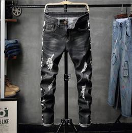 459df80cc698 Neue Ankunft Herren Gerade Distressed Jeans Schwarze Jeans Korean Style  Fashion Design Stretch Denim Stoffhose koreanische männer schwarze jeans im  angebot