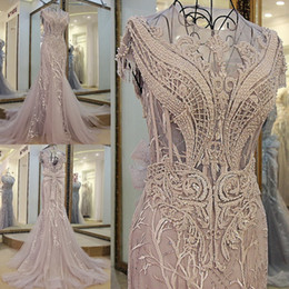 Wholesale Grey Beaded Dress - 2018 Grey Mermaid Evening Dresses Applique Beaded Sheer Neck Tulle Cap Sleeve Sweep Train Backless Formal Prom Wear Gowns Real Photos
