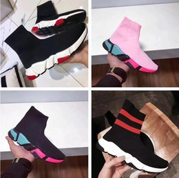 Wholesale Colorful Slips - Colorful Sole Speed Trainer Woman Casual Shoes High Top Stretch Knit Sock Boots Casual Cheap Sneaker Red White Pink Size 35-44 Original Box