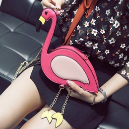 Oiseaux à main en cuir en Ligne-Adiyate Flamingo Chaînes Sacs À Bandoulière Pas Cher Pour Femmes O Sacs Pink Bird Bolsas Féminine Sac De Plage Flamingo Pas Cher En Cuir Sac À Main