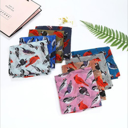 Wholesale Lightweight Fashion Scarves - 2018 Lightweight Birds Print Shawl Scarf 100% viscose voile scarves women spring summer air shawl wrap lencos de seda hot sale