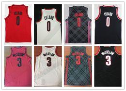 Venta al por mayor online-NCAA 2018 New Men # 0 Damian Lillard City Jerseys, Venta al por mayor barato 3 # CJ McCollum All cosida RipCity Lillard Basketball Jersey