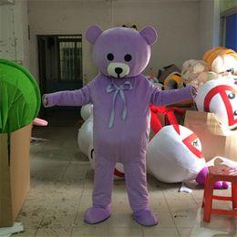 traje de urso tamanho completo Desconto Tamanho adulto Urso Mascote Traje de Halloween Natal Aninal Bear Roxo Carnaval Vestido de Corpo Inteiro Adereços Outfit