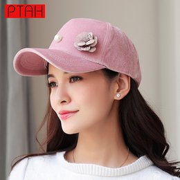 Wholesale Pearls Baseball Cap - PTAH Women Baseball Hip Hop Caps Suede High Quality Brand Solid Pearl Floral Caps Adjustable Ladies Fashion Spring Casquette6019