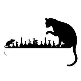 Wholesale Mouse Sticker - cat mouse chess-playing interesting pets style car sticker black silver ca-0036