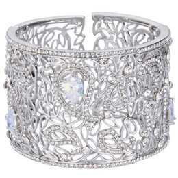 Wholesale Hollow Flower Cuff - BELLA 2016 New Silver Plated Hollow Leaf Flowers Wedding Bracelets & Bangles Clear Austrian Crystal Cuff Bracelet Women Jewelry