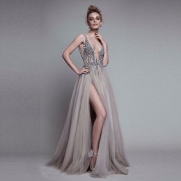 Wholesale High End Prom Gowns - High End Beaded Crystal Prom Gowns Sexy Deep V-neck Backless Long Formal Party Dress Side Split Vestido De Festa Abendkleider