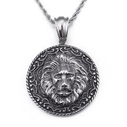 Colgante de fundición de acero online-Gothic Jewelry Biker acero inoxidable Large 50mm casting Lion Round colgante para hombre Vintage Necklace