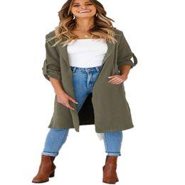 Тонкая женская траншея онлайн-Women Autumn Open Front Long Sleeve Turn-down Collar Lapel Cardigan Ladies Thin Long Slim Trench Casual Coat