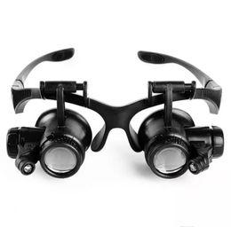 2019 óculos de óculos iluminados ampliados Tipo de óculos Lupa 10X 15X 20X 25X Eye Jóias Relógio Reparação Lupa Óculos Com 2 Luzes LED Novo Lupa Microscópio óculos de óculos iluminados ampliados barato