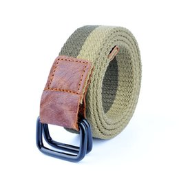 Wholesale canvas belt ring buckle - Canvas Belt Men&women Double Ring Iron Buckle Belts For Women High Quality Casual Knitted Patchwork Canvas Women Men Belt Homme