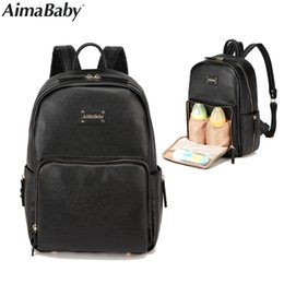 Wholesale leather diaper bag - Aimababy PU Leather Baby Bag Organizer Tote Diaper Bags Mom Backpack Mother Maternity Bags Diaper Backpack Large Nappy Bag