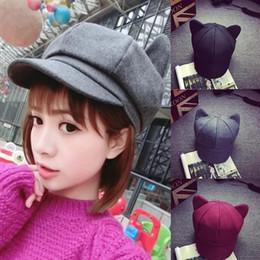 Chapéus octogonais 2018 Coréia Moda Gato Orelha Octagonal Cap para As Mulheres  Sólida De Feltro De Lã de jornaleiro Cap Boina Chapéu Sunscreen Caps S926 50cee7a3a23
