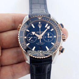 planeta oceano ouro Desconto Melhor Edição BF Planet Ocean 215.23.46.51.03.001 Dois tons Rose Gold Cerâmica Bezel Azul Dial CO-AXIAL 9301 Autoamtic Chronograph Mens Watch