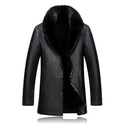 Wholesale Black Mink Coats - new fashion Winter Fur coat Man Thick Leather Mink Hair Collar Jacket Casual Single Breasted mens high quality plus size M-4XL