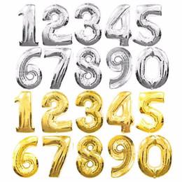 Decorazioni arabe del partito online-Nuovi palloncini di alluminio da 16 pollici Lettere di alfabeto di colore argento oro A-Z e numero arabo 0-9 Decorazione di festa di compleanno di palloncino di stagnola
