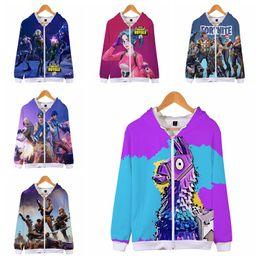 Wholesale zipper couple hoodies - 16 colors Fortnite 3D Printed Zipper Hoodies Sweatshirts Big Kids Boys Gilrs Hip Hop Punk Style Autumn Cap Sweatshirt Couple MMA274 12pcs