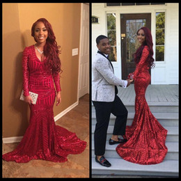 Wholesale high school prom dresses - 2018 Sparkly Bling Red Sequins Prom Dresses Mermaid V Neck Long Sleeves African American Sweep Train Junior High School Party Evening Gowns