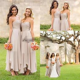 2019 El más nuevo de color gris plateado Vestidos de dama de honor sin tirantes hasta el tobillo Chiffon Beach Garden Maid of Honor vestido por encargo desde fabricantes