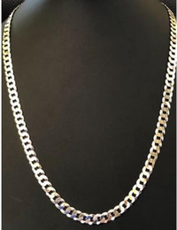 Wholesale Italy Gold Necklace - Men's Shiny 7mm Flat Curb Miami Cuban Chain Solid 925 Silver ITALY MADE