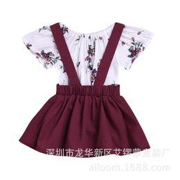 2019 baby kleidung spielanzug kleid Mädchen Sets Baby Kleidung 2018 Sommer Sleeveless Floral Romper + Baumwollkleid Kinder Outfits 2 Stck rabatt baby kleidung spielanzug kleid