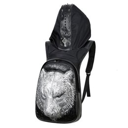 men sequined hats Coupons - Factory wholesale brand high-end stereo male package 3D lion Leather Backpack Men street boys cool personality hat nail Backpack