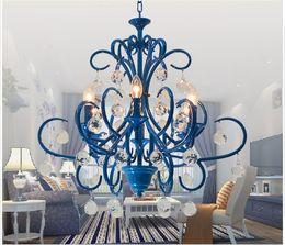 2019 iluminación de la fábrica de la vendimia Envío gratis Nordic Vintage Blue Crystal Chandelier LightingTop de lujo E14 LED AC Chandelier Lighting Factory venta directa rebajas iluminación de la fábrica de la vendimia