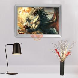 e29e0d622a stampe su tessuto personalizzate Sconti Vendita calda Personalizzato Telaio  In Alluminio Dipinto Home Decor Dungeons Draghi