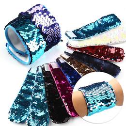 Wholesale Mermaid Bracelet Charms - Mermaid Sequin Bracelet Wristband Cuff Sequins Bracelets Women Charm Jewelry Girl Wedding Favors Mermaid Bracelet Wristband 30PCS YYA993