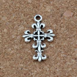 Филигранные кресты онлайн-Филигрань цветок крестом подвески подвески 200pcs/много 14x23mm Античное серебро мода ювелирные изделия DIY Fit браслеты колье серьги-266