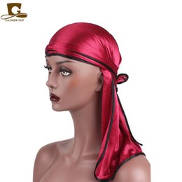 Wholesale man wigs - New Fashion Men's Satin Durags Bandanna Turban Wigs Men Silky Durag Headwear Headband Pirate Hat Hair Accessories