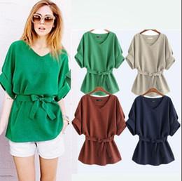 Wholesale Korean Batwing Fashion - Korean Bow Sashes Short Batwing V-neck Blouse Shirt Women Linen Retro Tops Vintage Solid Shirt OOA4709