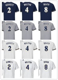 Wholesale Brown Scooters - custom Men women youth Majestic Milwaukee Jersey #8 Ryan Braun 4 Paul Molitor 2 Scooter Gennett Home Nary Blue Brewer Baseball Jerseys