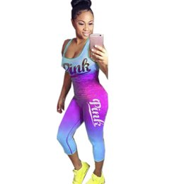 54d53a228bd Plus Size women casual pink letter print Tank Top + Ankle Length Pants 2pcs  sets casual tracksuit Lady s outfits Tight Overalls