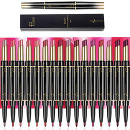 Batom duplo on-line-Pudaier Lipstick Lápis Lápis Maquiagem 2 em 1 Profissional Da Marca de Veludo Batom Fosco Dupla Cabeça Lipliner Batons Cosméticos Kits 16 Cores