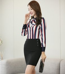 Wholesale Ladies Long Blazers Styles - Spring Fall Long Sleeve Formal OL Styles Elegant Ladies Professional Skirt Suits With 2 Piece Tops And Skirt Uniforms Outfits