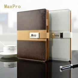 Wholesale Leather A5 Notebook - The password lock efficiency manual business organizer A5 loose notebook leather leather in this free shipping schedule